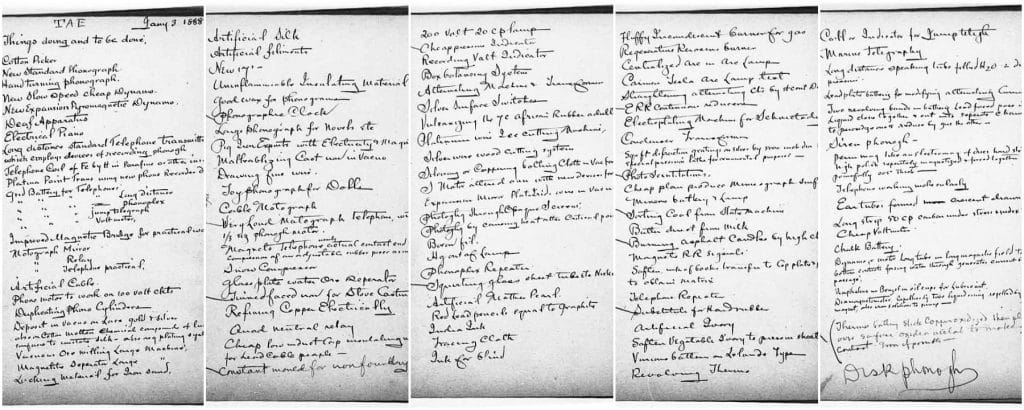 Thomas Edison 5 pages to do list from diary showing how to think and journalize like a millionaire