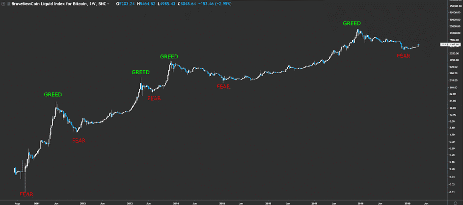 Weekly bitcoin chart with fear and greed identified